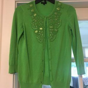 Petite Kelly Green Talbots Beaded Cardigan